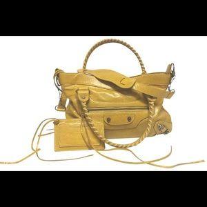 Balenciaga The City Yellow Leather Satchel